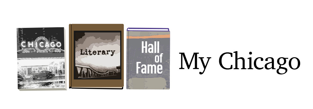 3 books forming Chicago Literary Hall of Fame logo