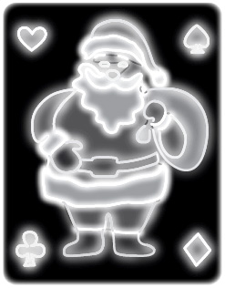 Electric Christmas light of Santa Clause on a playing card